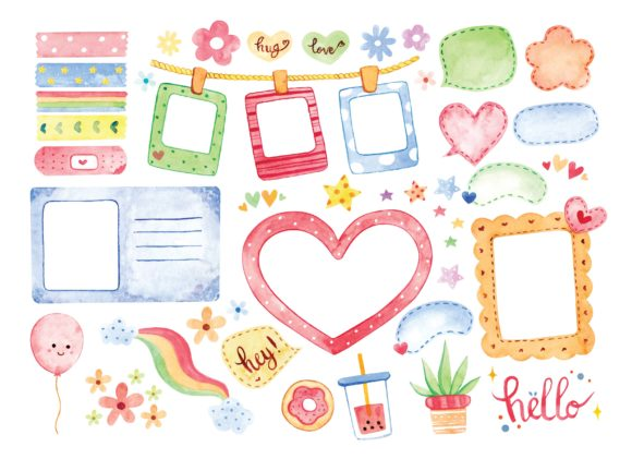 Watercolor Photo Frame Vector Graphic Illustrations By Big Barn Doodles