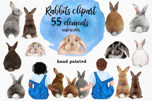 Watercolor Bunny Clipart Rabbit Png Kids Graphic