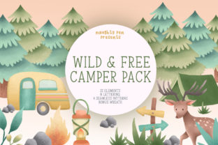 Wild and Free Camper Clipart Pack Grafik Illustrationen von Naughty Pen