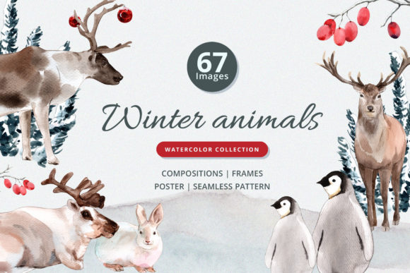 Winter Animals Watercolor Collection Graphic