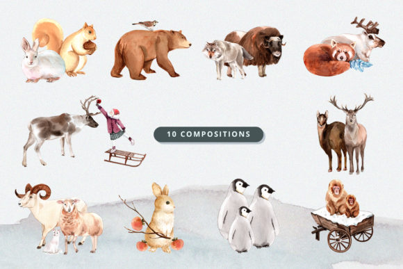 Winter Animals Watercolor Collection Graphic Download