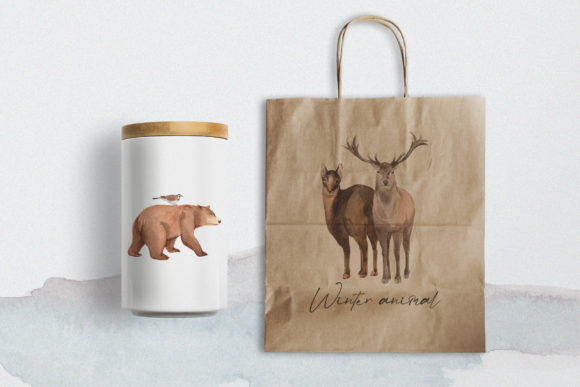 Winter Animals Watercolor Collection Graphic Design