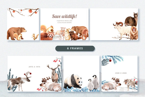 Winter Animals Watercolor Collection Graphic Preview