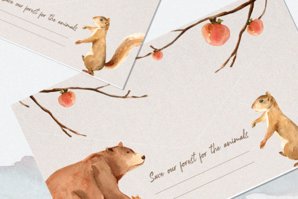 Winter Animals Watercolor Collection Graphic Image