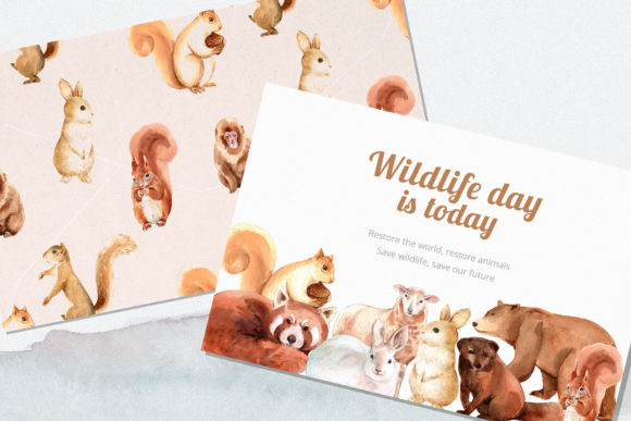 Winter Animals Watercolor Collection Graphic Design Item