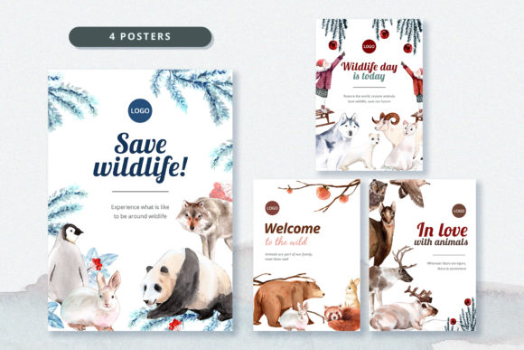 Winter Animals Watercolor Collection Graphic Downloadable Digital File