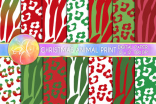Zebra and Leopard Christmas Digital Pape Graphic Backgrounds By paperart.bymc