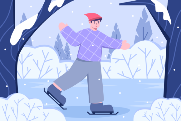 People Playing Ice Skating at Park Graphic Illustrations By Delook Creative