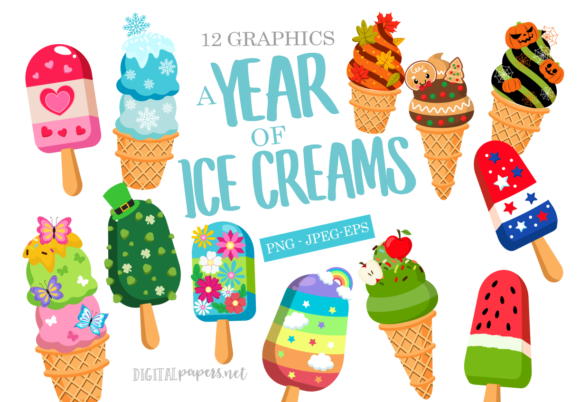 Print on Demand: A Year of Ice Cream Graphic Illustrations By DigitalPapers