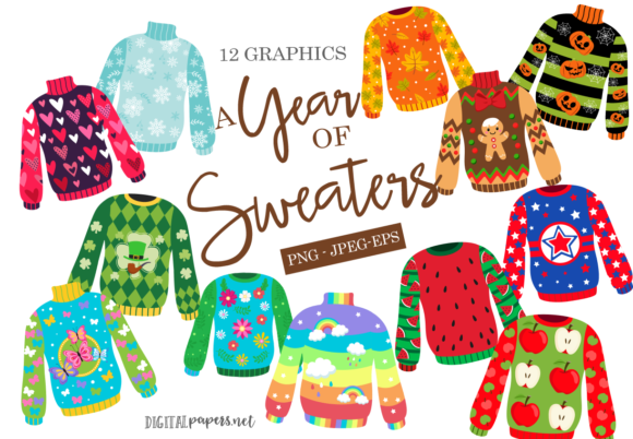 Print on Demand: A Year of Sweaters Clipart Set Graphic Illustrations By DigitalPapers