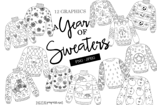Print on Demand: A Year of Sweaters Outlines Graphic Illustrations By DigitalPapers