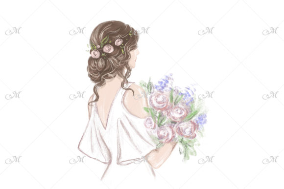 Bride with Beautiful Hairstyle Graphic Illustrations By MaddyZ