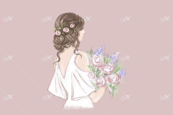 Bride with Beautiful Hairstyle Graphic Download