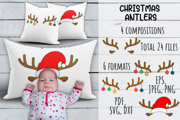 Print on Demand: Christmas Antlers SVG. Pillowcase Set. Graphic Crafts By OK-Design