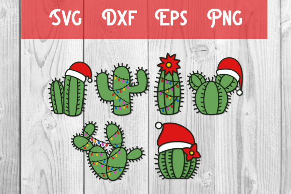 Print on Demand: Christmas Cactus Svg Christmas Cut File Graphic Print Templates By dadan_pm