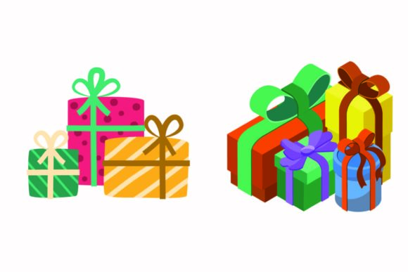 Christmas Gift Ribbon Illustration Set Graphic Illustrations By abstractspacestudio