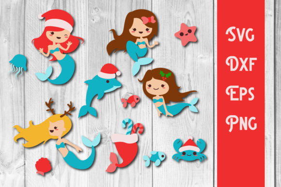 Print on Demand: Christmas Mermaid Svg Christmas Cut File Graphic Print Templates By dadan_pm