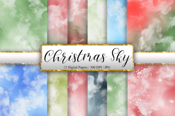 Christmas Sky Watercolor Background Graphic Backgrounds By PinkPearly