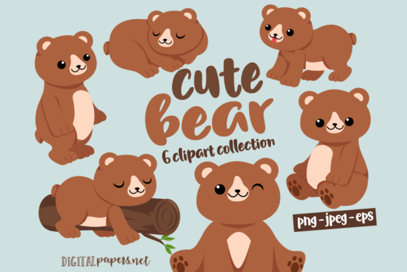 Print on Demand: Cute Bear Clipart Set Graphic Illustrations By DigitalPapers