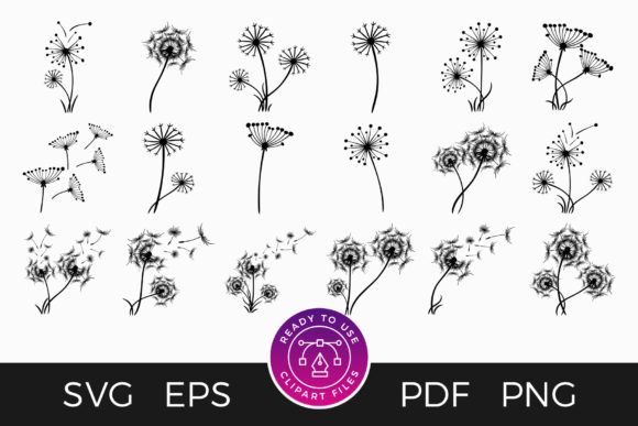 Print on Demand: Dandelion Clipart Flower SVG Set Graphic Crafts By DTCreativeLab