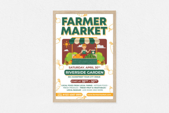 Farmer Market Poster Graphic Print Templates By medzcreative
