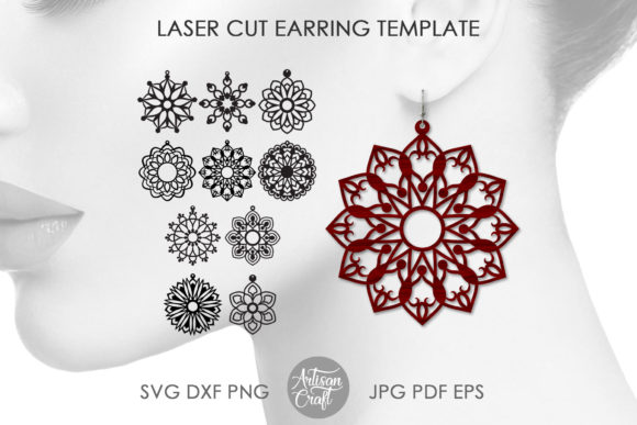 Print on Demand: Laser Cut Earring Template, Mandala Graphic 3D SVG By Artisan Craft SVG