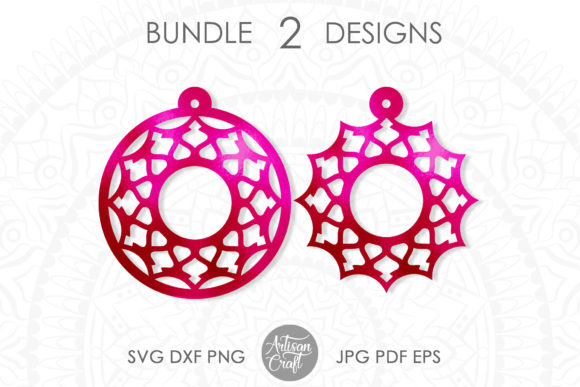 Print on Demand: Laser Cut Earrings File, Mandala Earring Graphic 3D SVG By Artisan Craft SVG