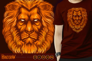 Print on Demand: Lion Head Cool Logo Illustration Graphic Illustrations By artgrarisstudio