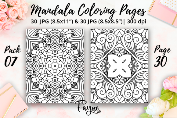 Mandala Coloring Pages Pack 07 KDP Graphic
