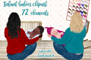 Print on Demand: Newborn Babies Clipart Infant Babies Graphic Illustrations By LeCoqDesign