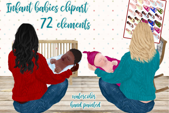 Newborn Babies Clipart Infant Babies Graphic Illustrations By LeCoqDesign