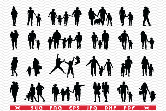 SVG Families in Walk, Black Silhouettes Graphic Icons By DesignStudioRM