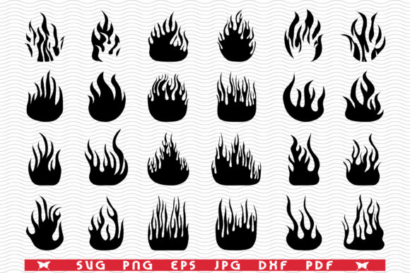 Fire Flames, Black Silhouettes Graphic Icons By DesignStudioRM