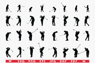 Golf Players, Black Silhouettes Graphic Icons By DesignStudioRM