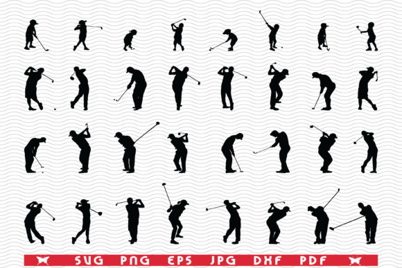 SVG Golf Players, Black Silhouettes Graphic Icons By DesignStudioRM
