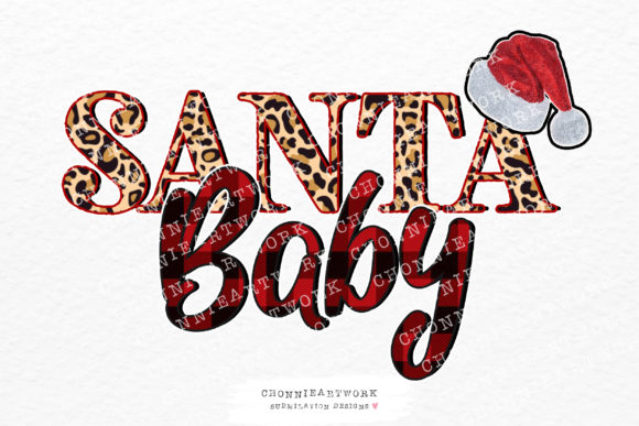 Santa Baby Leopard and Buffalo Plaid Graphic Crafts By Chonnieartwork