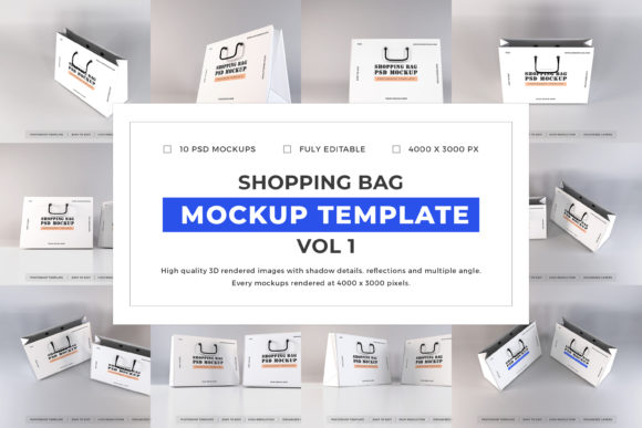 Print on Demand: Shopping Bag Mockup Bundle Vol 1 Graphic Product Mockups By dendysign