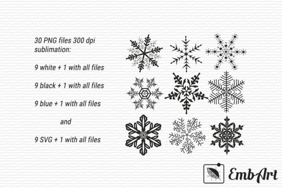 Print on Demand: Sublimation Bundle - Winter Snowflakes Graphic Crafts By EmbArt
