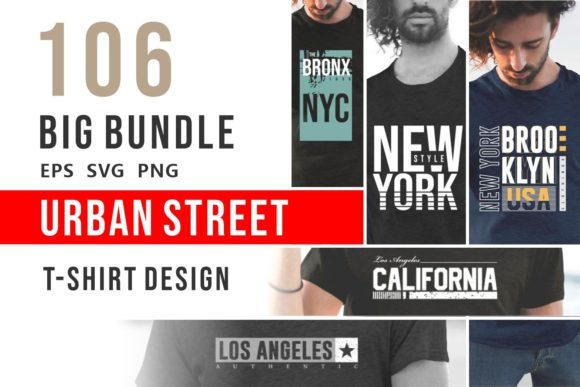Print on Demand: Urban Street T-shirt Design Bundle Graphic Print Templates By Universtock