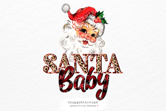 Vintage Santa Baby with Red Hat Graphic Crafts By Chonnieartwork