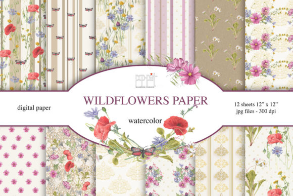 Wild Flowers Graphic Patterns By patrizia.moscone