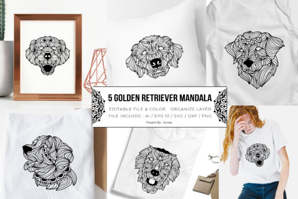 Print on Demand: 5 Golden Retriever Bundle | Mandala Graphic Crafts By Vunira