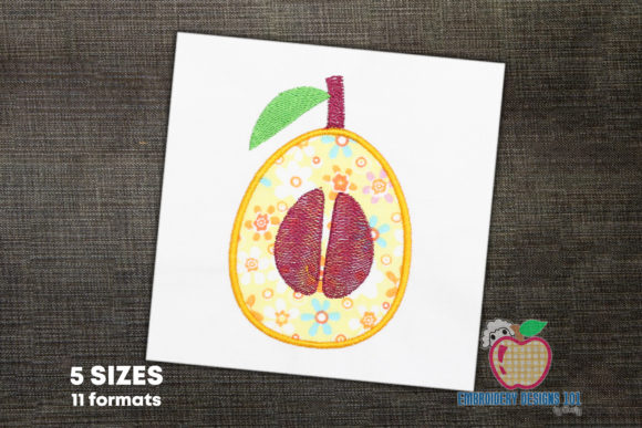 A Loquat with Seeds Applique Embroidery