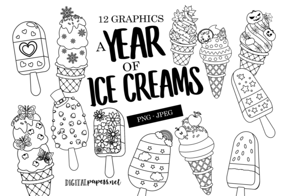 Print on Demand: A Year of Ice Cream Outlines Graphic Illustrations By DigitalPapers