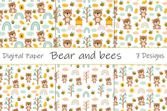 Bear and Bees Pattern Graphic Patterns By shishkovaiv