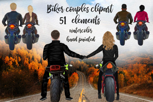 Biker Clipart Couples Biker Clipart Graphic Illustrations By LeCoqDesign