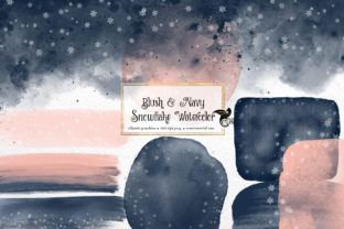 Print on Demand: Blush and Navy Snowflake Watercolor Graphic Illustrations By Digital Curio