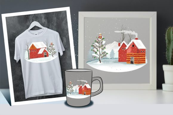 Christmas Joy at Countryside for Design Graphic Illustrations By onoborgol