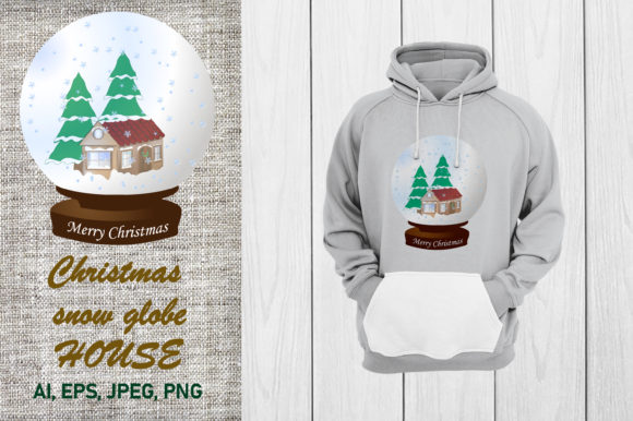 Print on Demand: Christmas Snow Glob HOUSE Graphic Illustrations By ladyangelika71