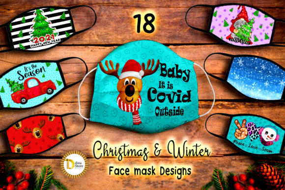 Christmas & Winter Face Mask Sublimation Grafik Plotterdateien von dina.store4art